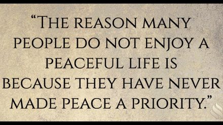 What priority do you place on peace?