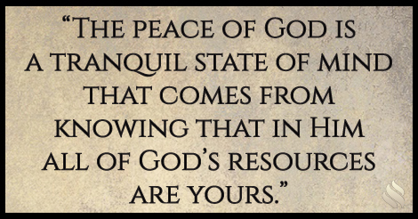 You can always trust the peace of God.